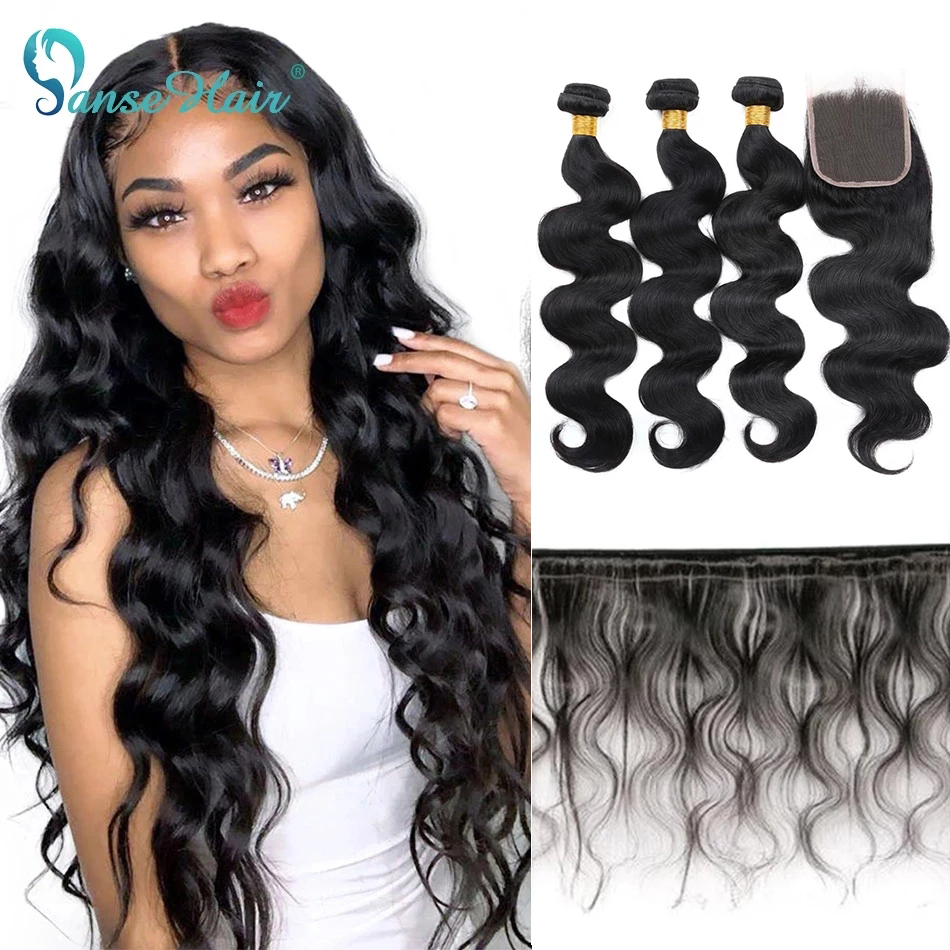Panse Hair Brazilian Hair Body Wave Human Hair 3 Bundles With Lace Closure 4X4 Remy Hair Free Shipping For Black Women Natural