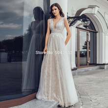 Sexy V Neck Full Lace Wedding Dresses 2020 Chic Silver Bridal Gowns Sequin Tulle Long Empire Floor Length Backless Wedding Dress