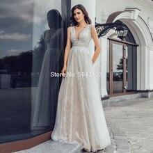 Sexy com decote em v vestidos de casamento de renda completa 2020 chique prata vestidos de noiva lantejoulas tule longo império até o chão vestido de casamento sem costas