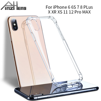 PINZHENG Silicone Phone Case For iPhone 11 12 Pro X XR XS MAX 6 6s 7 8 Plus Shockproof Cases Transparent Protection Back Cover image