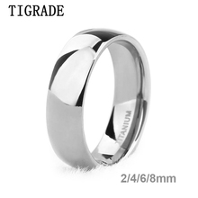 Tigrade 6mm Fashion Mens Titanium Ring Silver Polished Classic Engagement Anel Rings For Male Female Wedding Bands Never Fade
