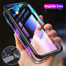 Metal Magnetic Adsorption Case For iphone 11 Pro X XR XS Max Tempered Glass Magnet Protective Cover Case For iphone 7 8 Plus 6 S magnetic adsorption case for iphone x xs max 10 8 7 6 s plus coque tempered glass magnet back cover for iphone xr xs max fundas