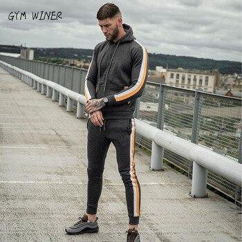 New Men's Fashion Suit Euro-American Fashion Sports Leisure Men's Wear Colour Fitness Clothing Pure cotton hoodies+pants suit
