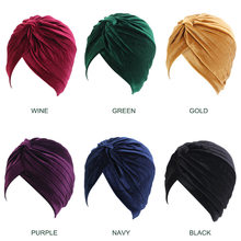 New Fashion Muslim Stretch Velvet/Silk Cross Twist Turban Hat Chemo Cap Women Beanies Caps Headwrap Solid Color Hair Accessories(China)