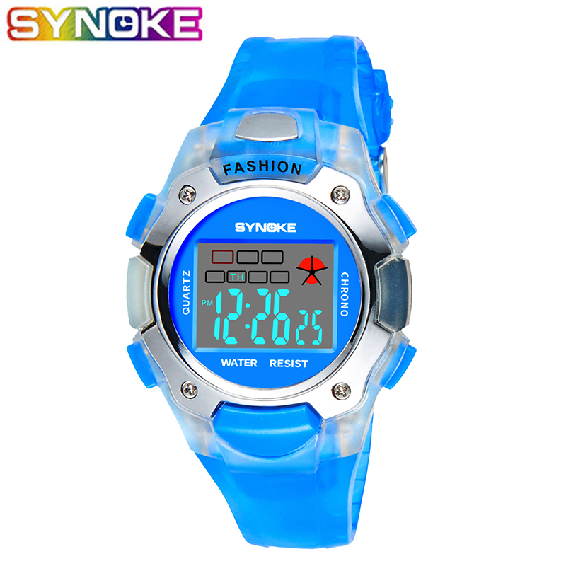 SYNOKE Children Digital Watches Sport Multi-Function Waterproof LED Stop Watch Alarm Clock Kids Electronic Watches
