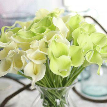 PU Calla lilie bukiety jesienne dekoracje sztuczne rośliny sztuczne kwiaty sztuczne kwiaty dekoracje ślubne tanie i dobre opinie Kwiat Głowy Ślub