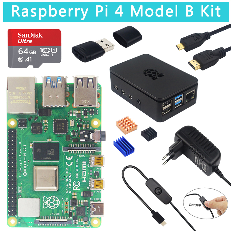 US $65 21 25% OFF|Original Raspberry Pi 4 Model B Kit + ABS Case + 32 64GB  SD Card+ Switch Power Supply +Heat Sink + Micro HDMI for Raspberry Pi 4 on