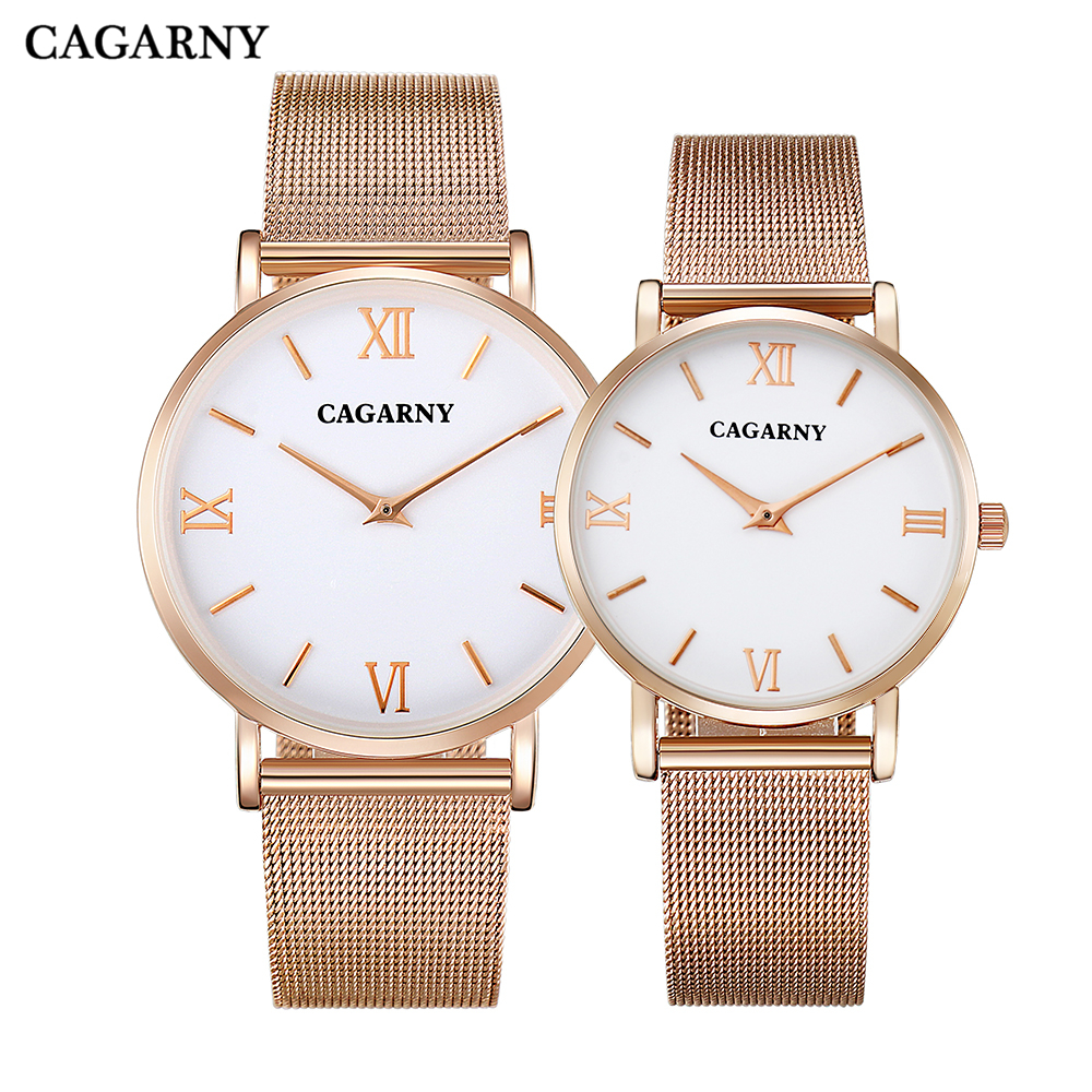 CAGARNY High Quality Ultra-thin Watch Men Women Stainless Steel Mesh Band Rose Gold Watches Lover's Fashion Couples Wristwatch