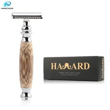 HAWARD Razor Natural Bamboo Handle Men's Shaver Double-edged Safety Razor More Environmentally Friendly Free 10 Shaving Blades