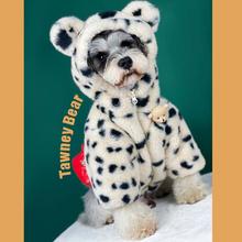 Plus aksamitne miejsca zimowa bluza z kapturem dla psa odzież dla zwierząt stylowa Streetwear bluza moda strój dla psów koty Puppy Small Medium tanie tanio CN (pochodzenie) Polar Jesień zima Spots Keep Warm Windproof fashion Support Pet dog hoodies clothes Cat dog