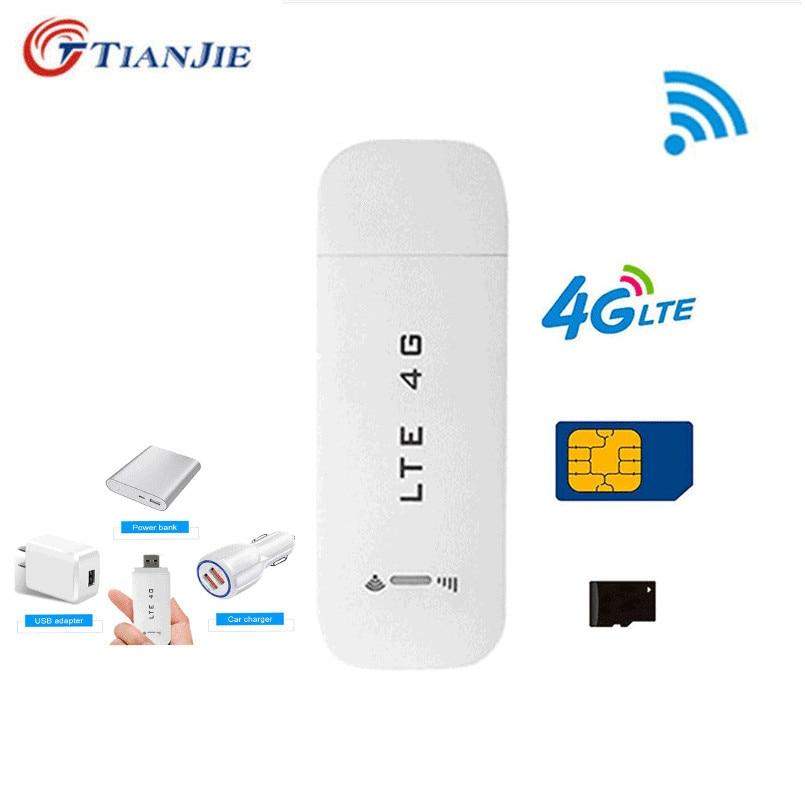 TianJie 3G/4G USB Wireless Wifi Router 4G LTE/FDD Car USB Modem Mini Wifi Stick Sim Card Data Mobile Hotspot Modem Dongle