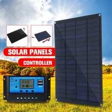 12V 18V Панели Солнечные с батарейный зажим + 10/20 Вт, 30 Вт, 50A автомобиль с питанием от солнечных батарей Зарядное устройство контроллер панели с...