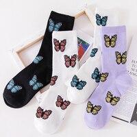 Новые носки с бабочками  модные забавные хлопковые носки с вышивкой 1