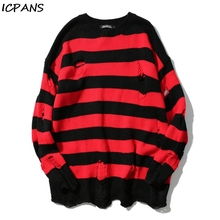 ICPANS Black Red Striped Hole Knit Sweaters Autumn Winter Sweater Loose Long Paragraph Oversized Men Women All-match Clothing