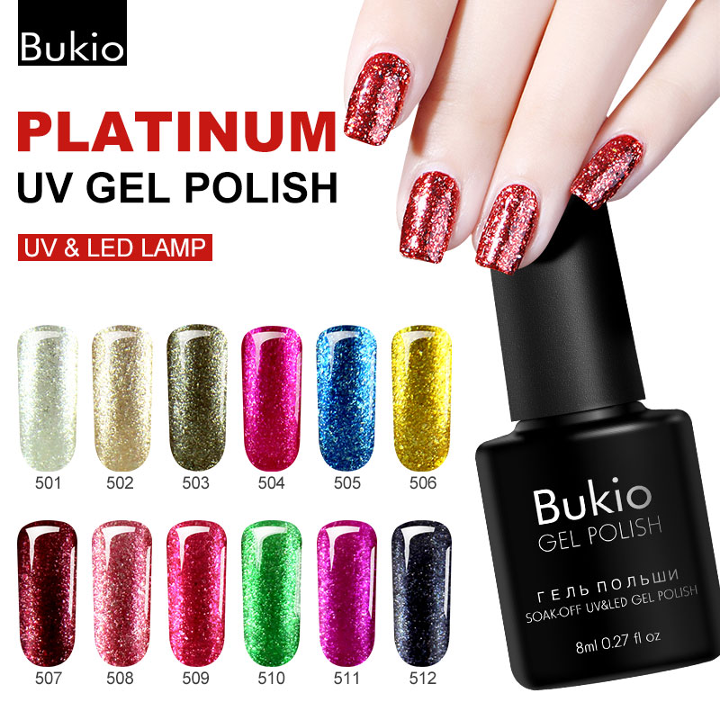 Bukio White Gold Lacquer Glitter Sequins Flash UV Gel Nail Polish Semi-Permanent Shiny Platinum Nail Gum Manicure Lasting