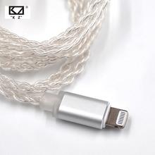 AK KZ الإضاءة حوض كابل 2Pin/MMCX موصل مطلي الفضة كابل ل KZ ZS5/ZS6/AS16/ ED16/ZST/ES4/AS12/ZS10/AS10/ZSN برو/ZSX