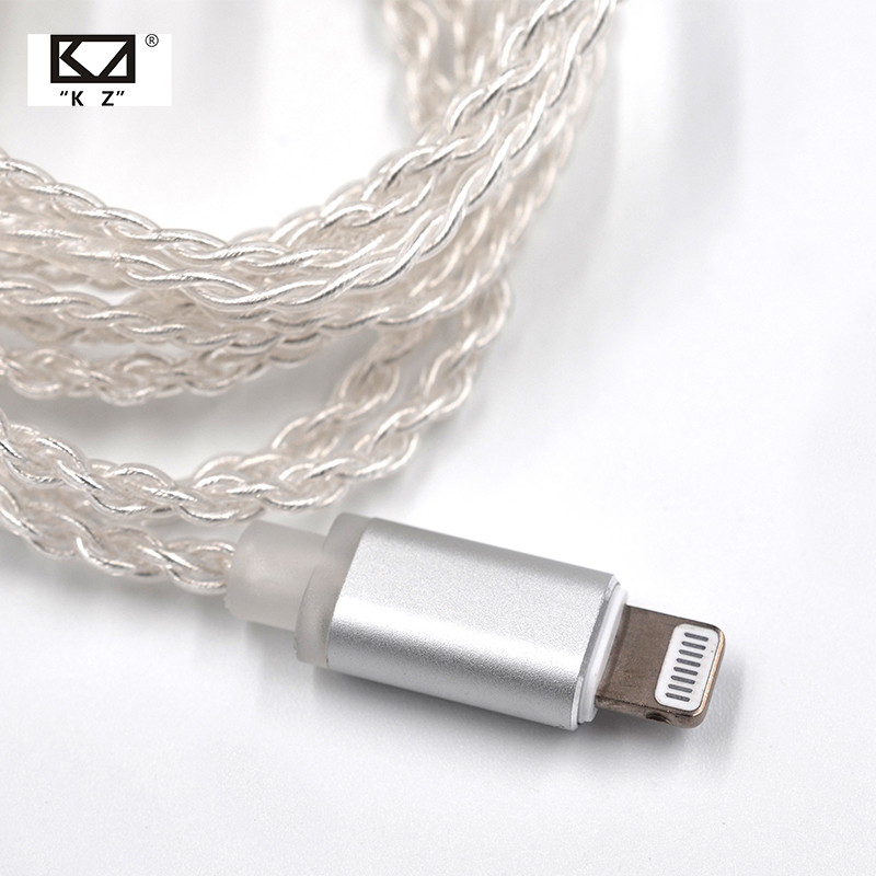 AK KZ Lighting Dock Cable 2Pin MMCX Connector Plated Silver Cable For KZ ZS5 ZS6 AS16 ED16 ZST ES4 AS12 ZS10 AS10 ZSN Pro ZSX