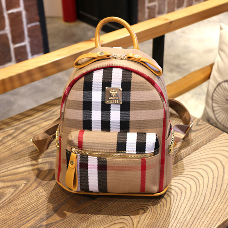 Autumn And Winter New Style Fashion Canvas Plaid Stripes Backpack Cool GIRL'S Versatile Boutique Backpack College Style Small Ba
