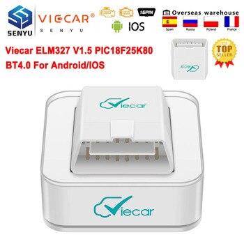 Viecar ELM327 V1.5 PIC18F25K80 ODB2 Scanner Auto tools Bluetooth-Compatible 4.0 For IOS ELM 327 V 1 5 OBD 2 OBD2 Car Diagnostic 1