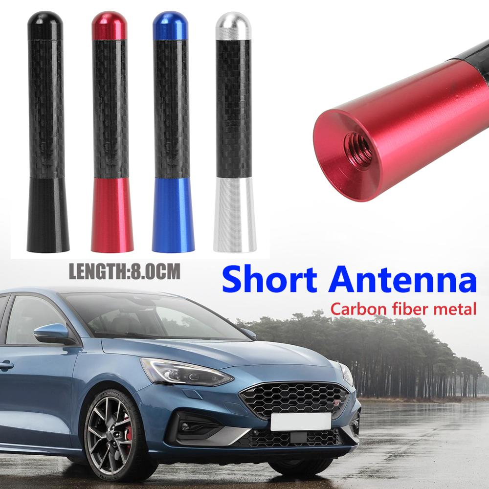 3.5/8cm Universal Car Styling Roof Antenna Carbon Fiber Screw Metal Stubby Mast Antenna Replacement Kit Auto Exterior Parts New