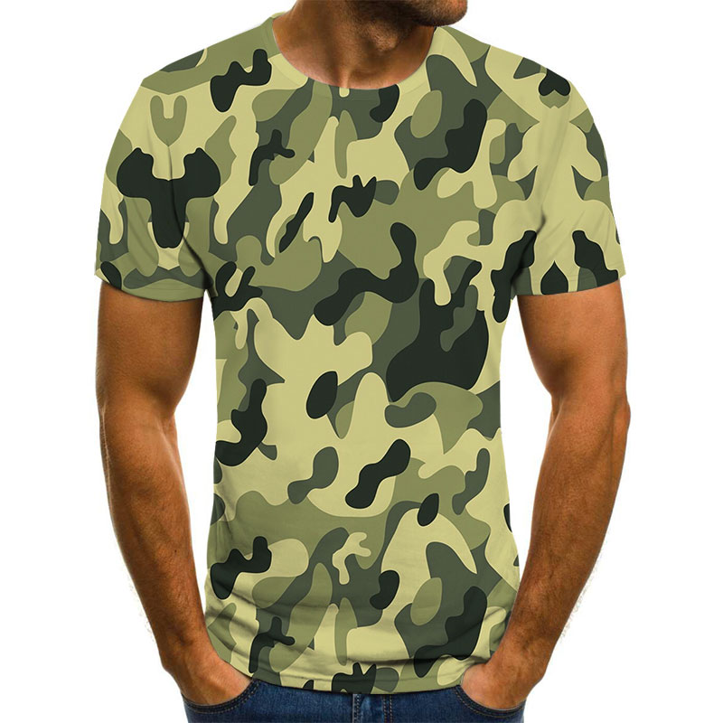 2021 New 3D printing camouflage men's summer casual fashion comfortable short-sleeved plus size T-shirt children's fun T-shirt