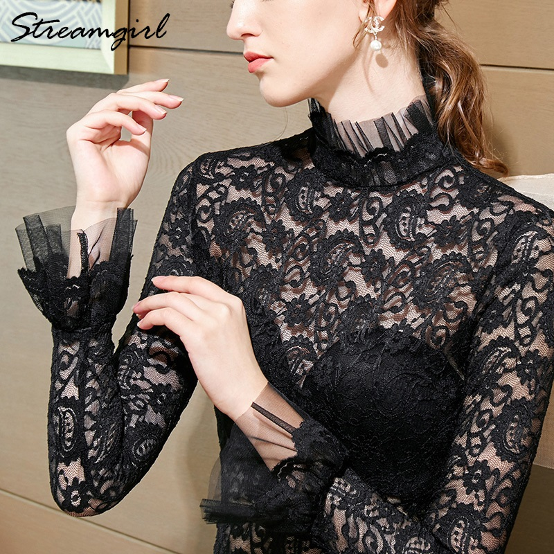 Lace Transparent Blouse Embroided Women Tops Plus Size Elegant White Blouses Lace Ruffles Collar Blouse Long Sleeve Shirt 2020