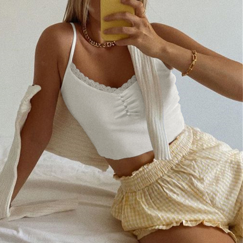 Sweetown Streetwear Lace Patchwork Summer Solid White Tank Top Women Home Fashion Leisure Outfit Casual Crop Tops Kawaii Clothes 2