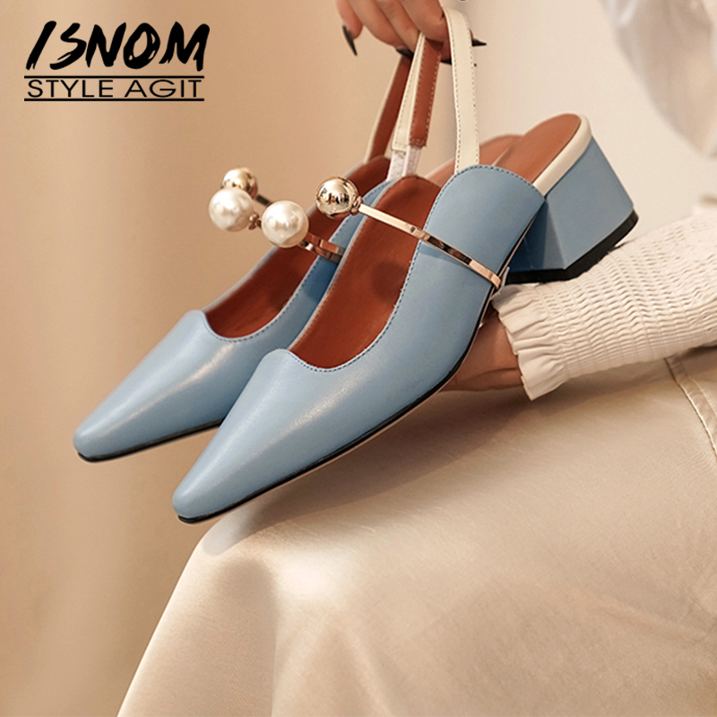 ISNOM Chunky High Heels Female Shoes Woman 2020 Slingback Pumps Fashion Sandals Casual Pearl Metal Decoration Casual Shoes