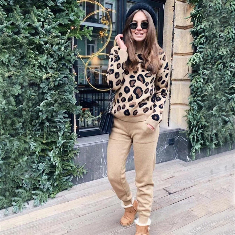 Taotrees Autumn And Winter Female Trendy Temperament Leopard Knitted Round Collor Panllover Sweater And Pants Two Piece Set