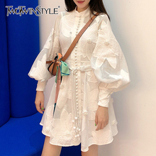 TWOTWINSTYLE Embroidery Asymmetrical Women's Dresses Stand Collar Lantern Long Sleeve High Waist Lace Up Hollow Out Dress Female