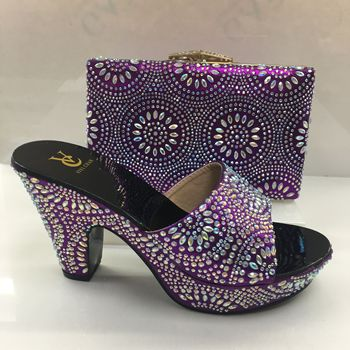 Latest African Shoes and Bags Matching Set Decorated with Appliques Pumps Women Shoes Sales In Women Matching Shoes and Bag Set