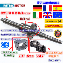 DE SFU1605 Ballscrew-L300mm/ 500mm/ 600mm /800mm/1050mm End machined & Ball nut & BK/BF12 Support & Nut housing for CNC Router