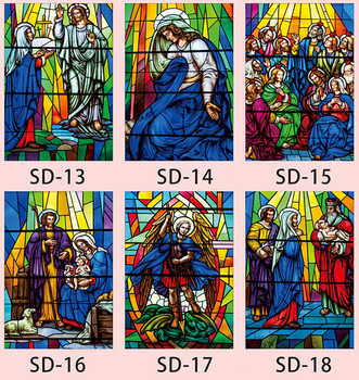 Custom Size Church figures Character Window Film Static Cling Frosted Window Sticker Stained Glass Foil Raamfolie 100cmx120cm