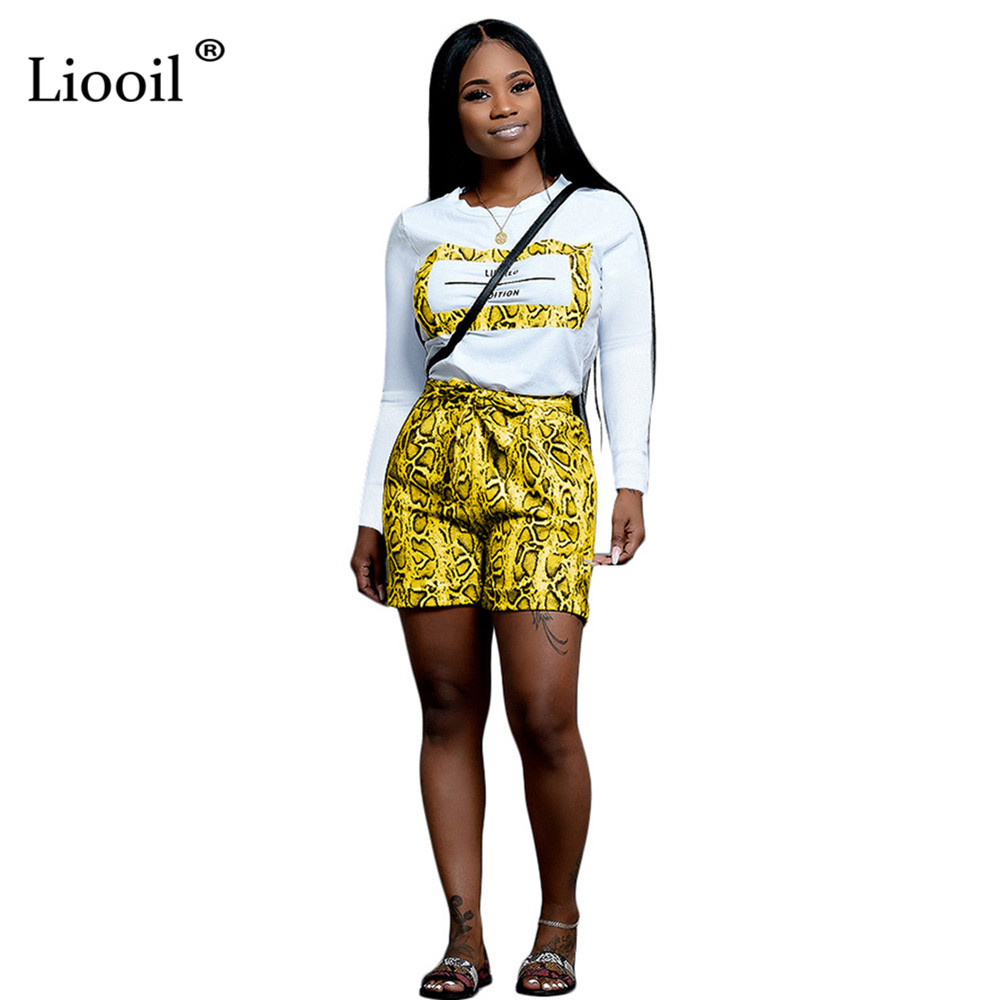 Liooil Snake Print Two Piece Short Set Women 2019 Shirt Crop Top And Biker Shorts Sexy Club Outfits Sporty Active Wear Tracksuit