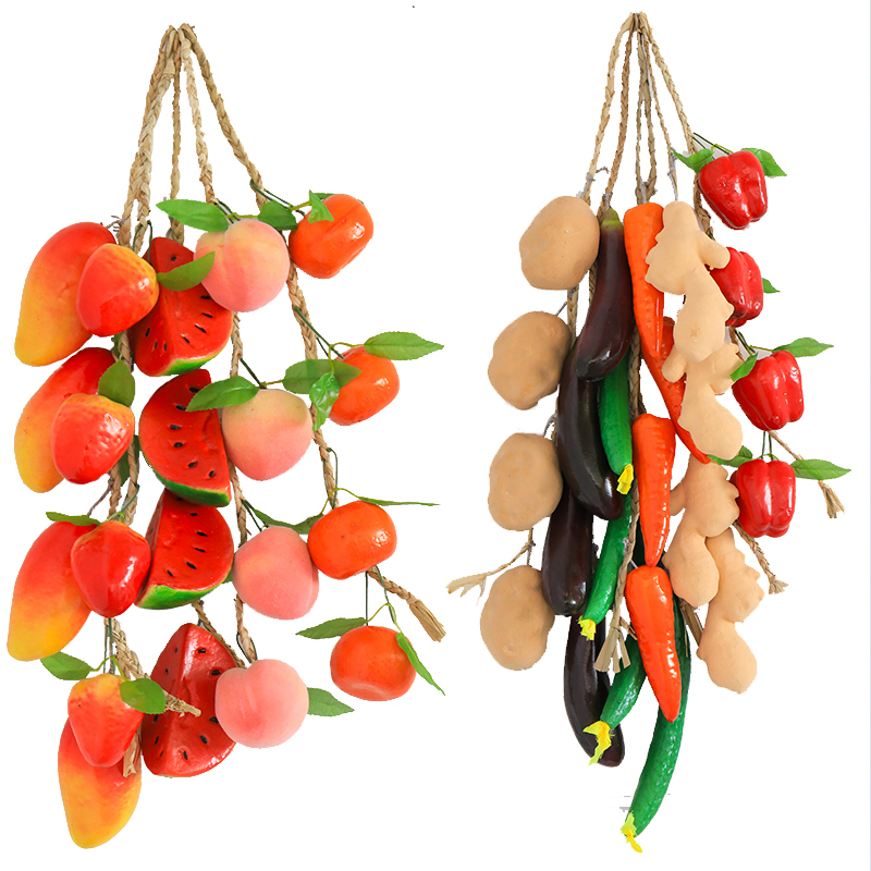 Artificial Fruit Vegetable fake simulated mini fall pumpkin food decoration Plastic Model Farmhouse Hotel  Rattan Hanging