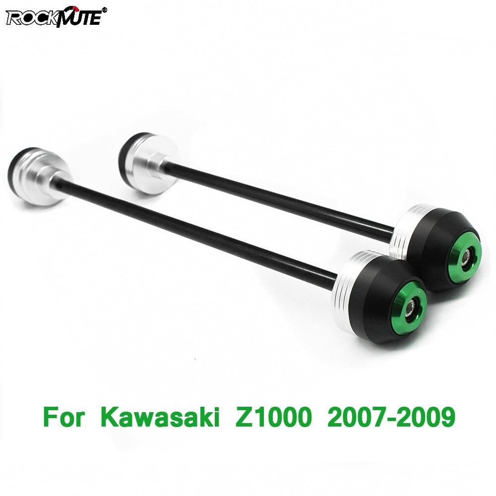Motocicleta pom eixo garfo bater sliders para kawasaki z1000 2007 2008 2009 frente protetor de roda traseira círculo decoração