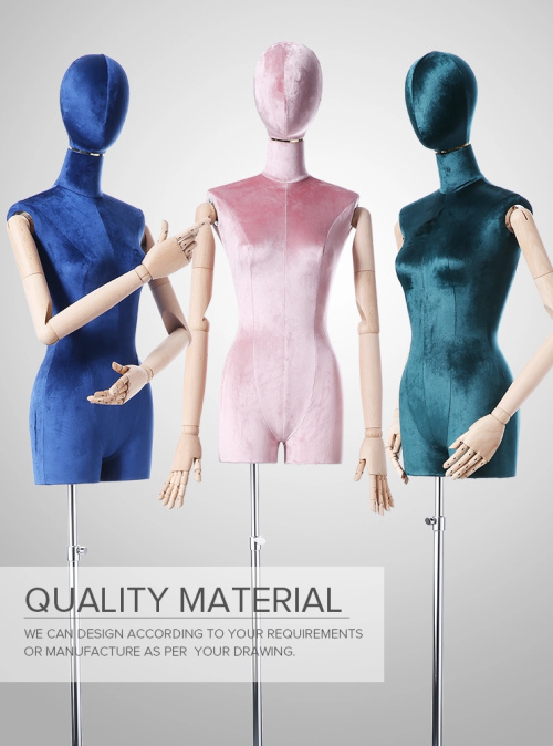 Female Mannequin Torso Body Dress Form With Tripod Stand And Wooden Arms For Clothing Dress Jewelry Display