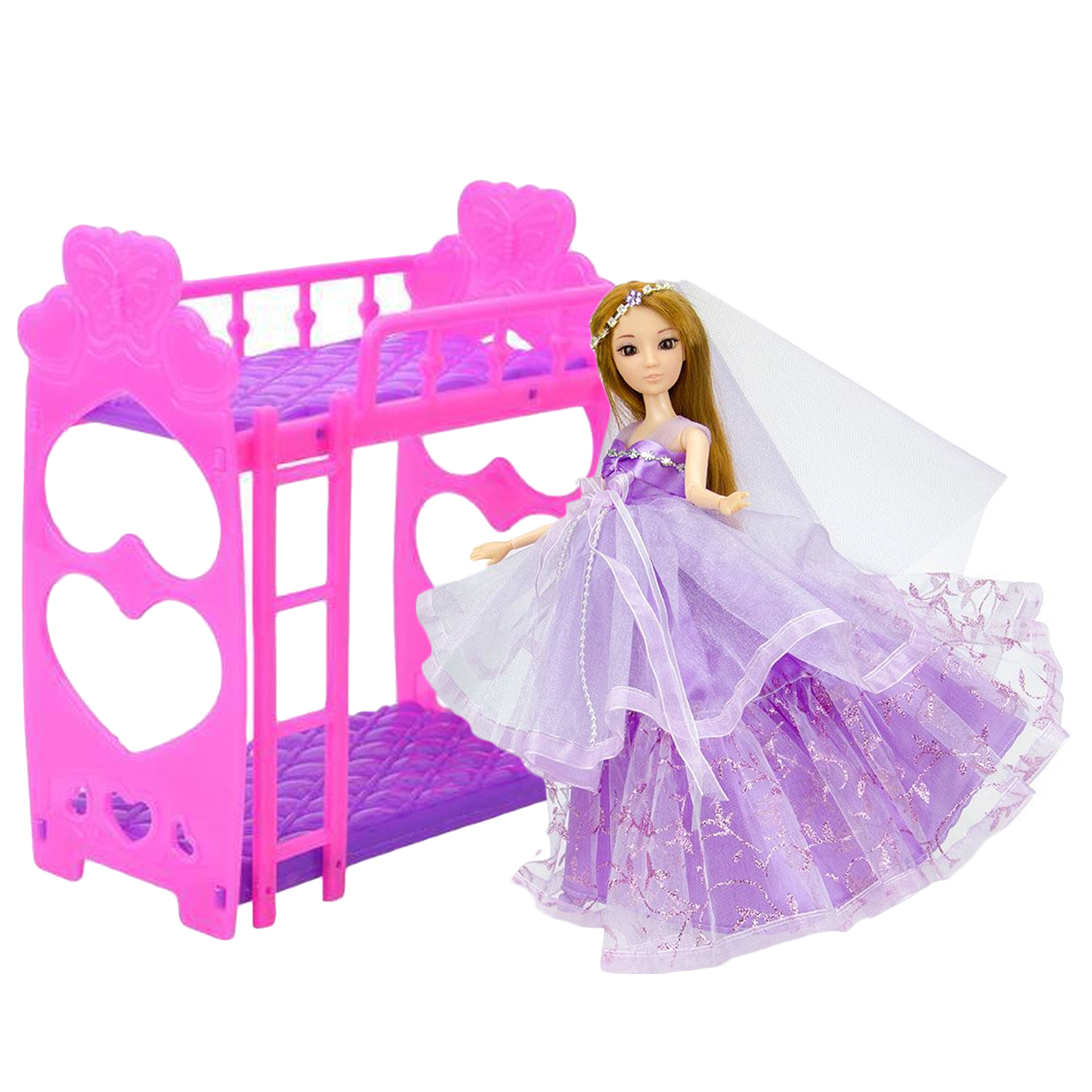 Kids Cute Doll Bunk Bed Detachable Bed Frame Bedroom Dollhouse Double Bed Dolls Pink Furniture Accessories for Barbie Toy