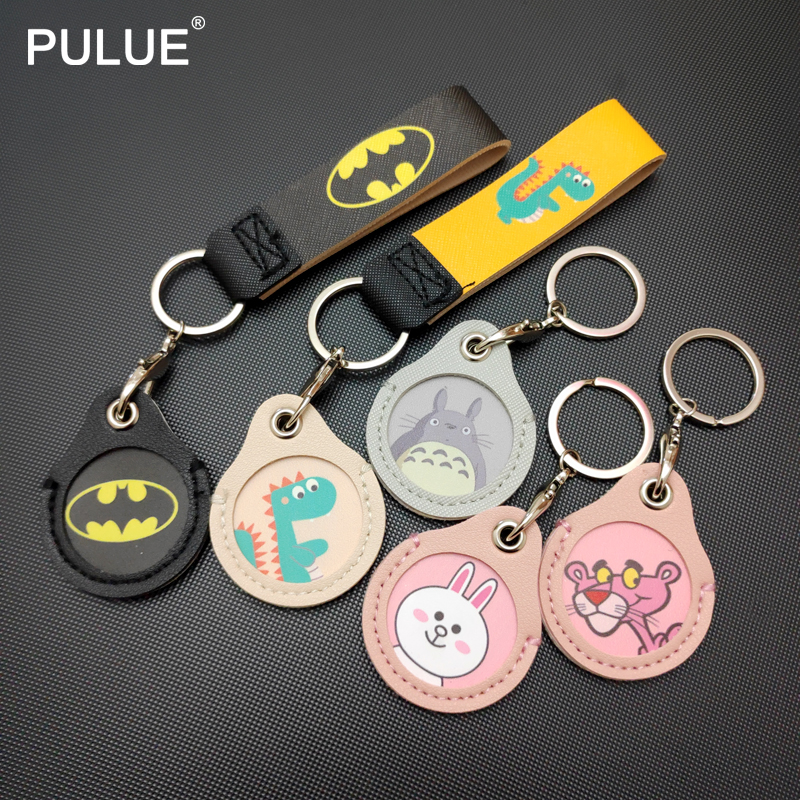 High Quality PU Leather Small Round Key Cover Cartoon Animal Pattern Key Holder Women Portable Lovely Key Pendant Metal Keychain