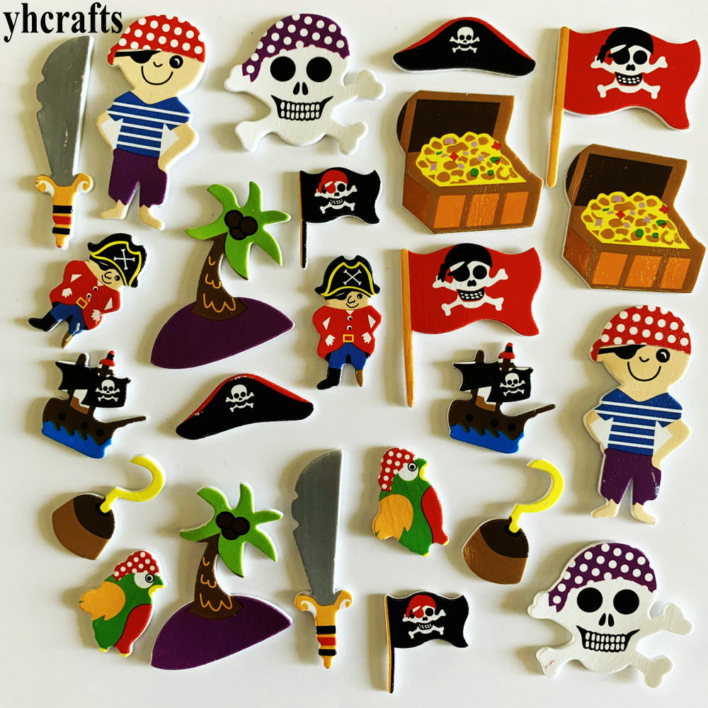 1bag/Lot Pirate Foam Stickers DIY Crafts Activity Items Kindergarten Early Learning Educational Toys Birthday Gifts Halloween