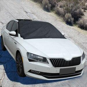 Image 5 - Güçlü mıknatıslı araba kar blok kapak gümüş bez manyetik kar buz kalkanı cam kış araba ön pencere