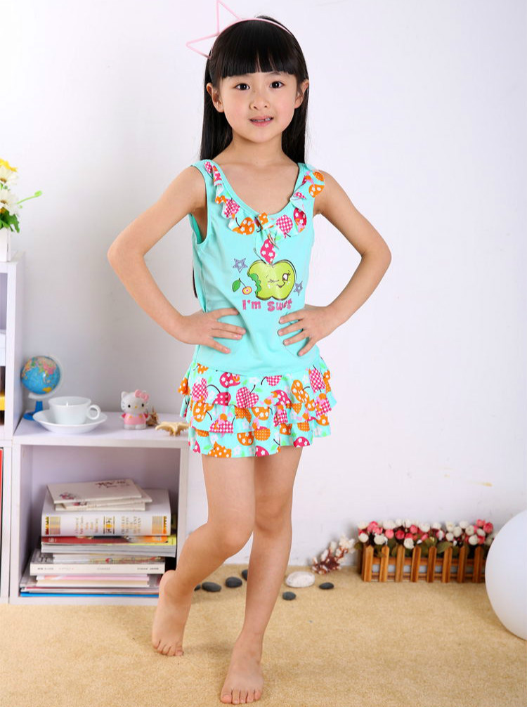 2018 New Style Infant Child Bathing Suit Girls Printed Baby Kids Sun-resistant Tour Bathing Suit Korean-style Big Boy Swimwear P