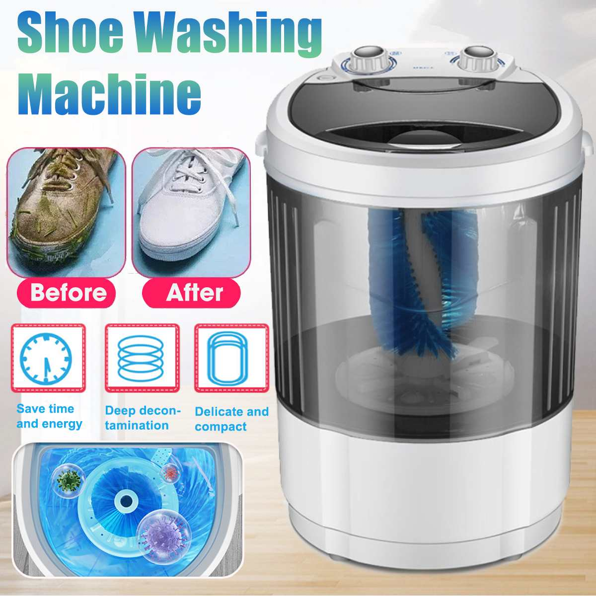 Shoes Washing Machine 4.5kg Portable Household Single Tube Washer and Dryer Machine for Shoes UV bacteriostasis Shoes Cleaner image