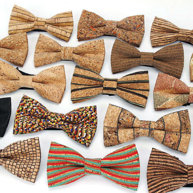 New Men's Cork Wooden Fashion Bow Ties Man Novelty Handmade Striped Plaid Neckwear For Men Wedding Party Wood Gift Male Bowtie