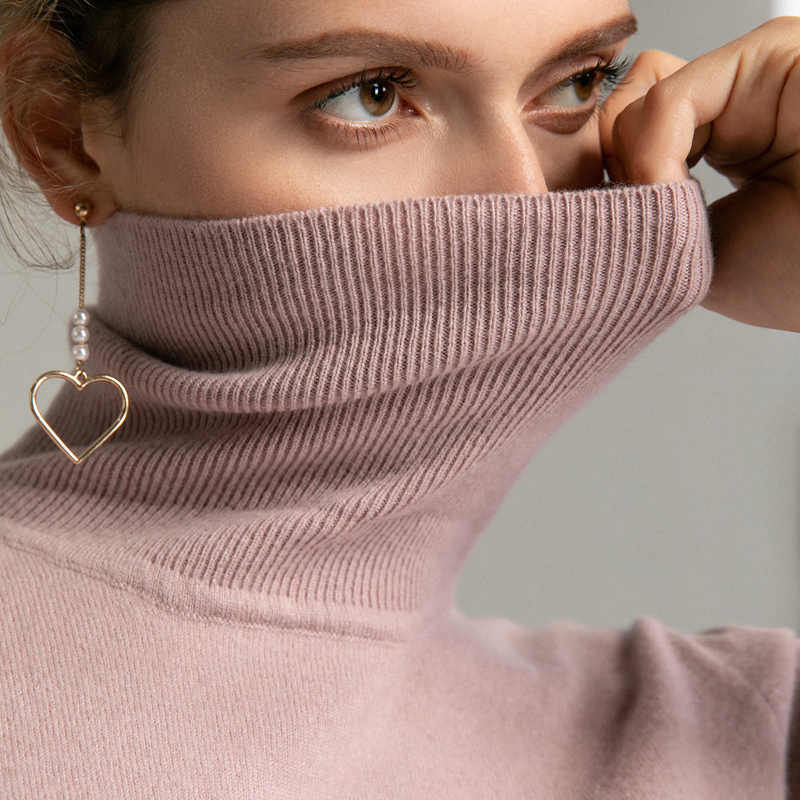 New Fall Winter 100% Cashmere Turtleneck Sweater Soft Handle Warm Women Jumper OL Render Knit Pullover
