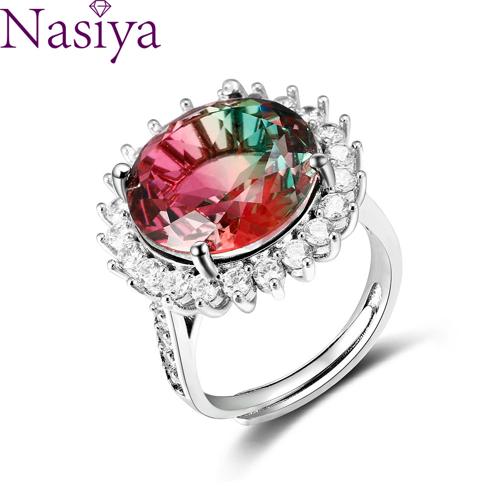 Fashion Jewelry AAAAA Zircon Gemstone Ring Large Round 15MM Color Tourmaline Adjustable Ring Female Engagement Wedding Party