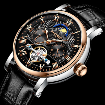 KINYUED Automatic Mechanical Skeleton Mens Watch 2019 Moon Phase Watch Man Top Brand Luxury Rose Gold Business Relogio Masculino