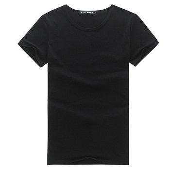 Men T shirt round neck Solid color black white women men T-shirt short Sleeve Average quality thin shirt
