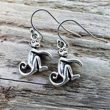 Monkey Earrings Tiny Monkey Earrings Handmade Monkey Earrings Antique Silver Color Monkey Earrings Monkey Dangle Earrings джинсы blue monkey blue monkey mp002xw0ixm6