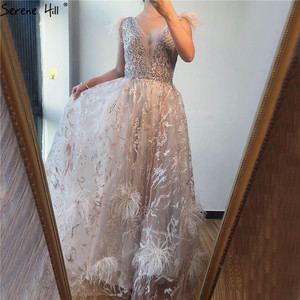 Image 5 - Dubai Champagne V Neck Sexy Evening Dresses 2020 Feathers Crystal Sleeveless Evening Gowns 2020 Serene Hill LA70260